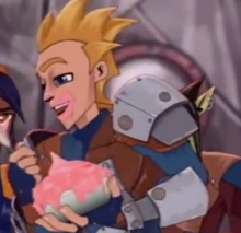 Finn eats the yogurt