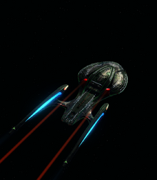 USS Deletham (NCC-97011) flying away