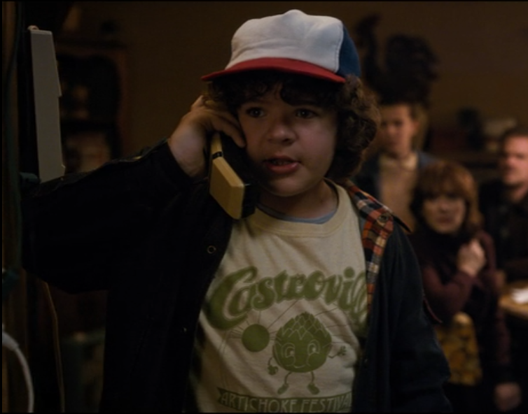 Dustin calling Mr. Clarke to ask about sensory deprivation.