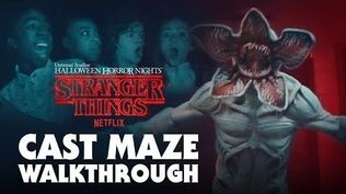 Stranger Things Cast Gets Scared during Maze Walkthru - Halloween Horror Nights 2018