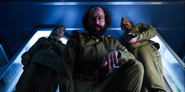 S03E08-Murray with Joyce and Hopper at the Russian base