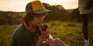 S03E01-Dustin calls using the walkie-talkie