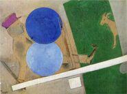 Composition aux cercles et la chèvre chagall