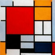 Composition with Large Red Plane, Yellow, Black, Gray and Blue mondrian