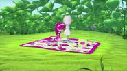 Raspberry works on her screen-skirt