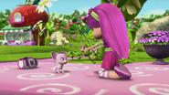 Chiffon is terrified by Raspberry's hoop