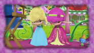 Princesses Lemonella and Raspbelina are bowing down very reluctantly