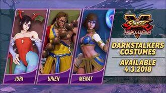 Street Fighter V Arcade Edition - Darkstalkers premium costumes arriving for Menat, Juri, and Urien