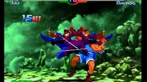 Street Fighter Alpha 3 - Juni & Juli's Death Cross Dancing super move with K.O. flash