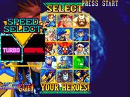 MvCapcom - Clash of Super Heroes - character screen speed select