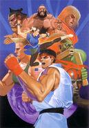 Street Fighter II cover flyer illustration