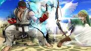 Ryu y Link en el Templo de Palutena SSB4 (Wii U)
