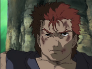 Young Akuma beaten by Gouken after attempting to emply the dark hado