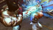 Kazuya pateando a Ryu