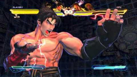 Jin performing his Super Art and Cross Art in Street Fighter X Tekken