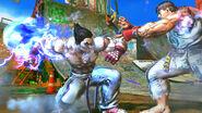 Kazuya esquivando el Hadouken de Ryu