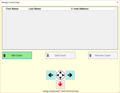 Manage Coaches Page example