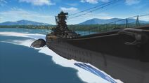 Battleship Yamato Engaging from River