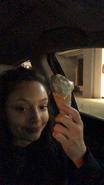Kayla Maisonet holding ice cream instastory