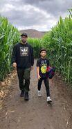 Malachi and Dad maze walk