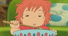 Ponyo sleepy while eating food