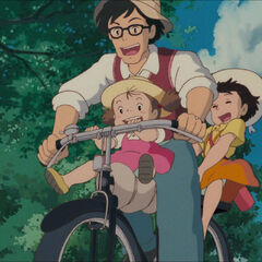 Mei and Satsuki on their father's bicycle 2