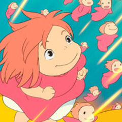 Ponyo surfing with sisters