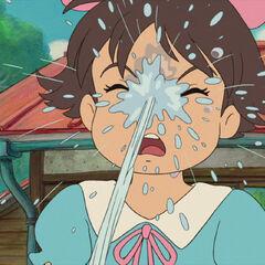 Kumiko gets all stream water by Ponyo