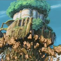 Laputa's reactor collapsing after Sheeta and Pazu speak the spell of destruction.