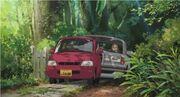Ghibli arrietty property driveway car
