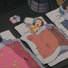 Mei, Satsuki and their father sleeping