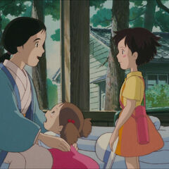 Mei and Satsuki with their mother