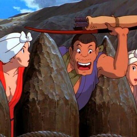 Kohroku gives the arrow to Ashitaka