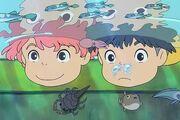 Ponyo and Sosuke underwater