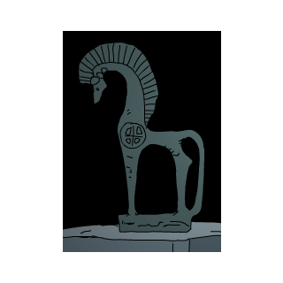 A statue of a horse in the ancient section.