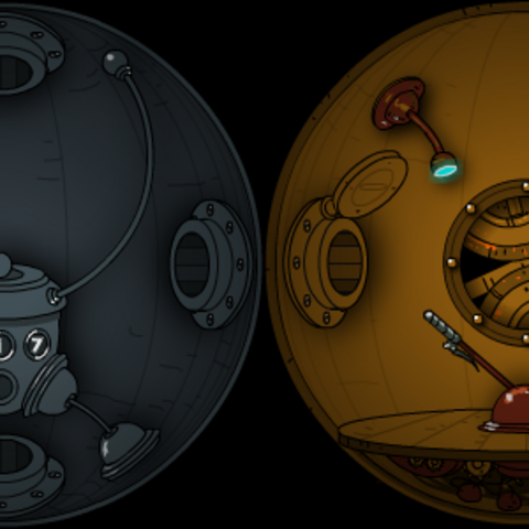The design of the room with the portal is later used in the capsule in Submachine 7: The Core.