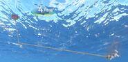 Schwimmende Luftpumpe mit Leitung