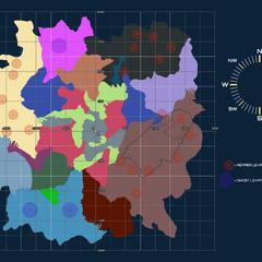 Un mapa que muestra la ubicación y el área de patrulla de cada Leviatán.