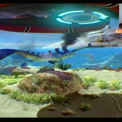 Un Youtuber llamado AndrewOscarDelta utilizando el Oculus Rift mientras juega <i>Subnautica</i>.
