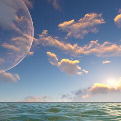 Una vista del planeta desde el océano.