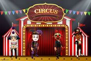 Circus Background Coco, Jaro, Frank, and Eddy