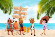Summer Vacation Background Izzy, Brody, Kim, and Mei