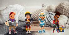 Cozy Background Bjarki, Alex, Elf Tricky, and Festive Fresh