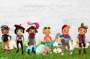 Easter Background Roberto, Coco, Jaro, Philip, Bjarki, and Hugo