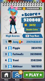 Jung il Woo best in the world in Subway Surfer 2147483647
