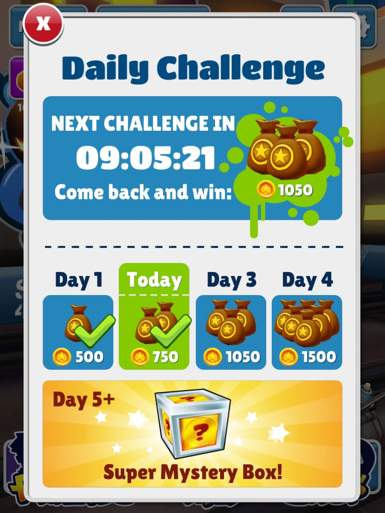 Daily challenge subway surfers wiki fandom powered by wikia the daily challenge is a challenge where the player has to collect a certain amount of letters to form a word ie dash score jump tie roll etc aljukfo Images
