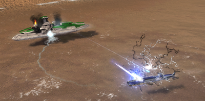 A Tigershark surfaced to attack a damaged Beacon as it's torpedo is ineffective