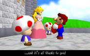 Peach 2 Toads Mario N64 ending 2