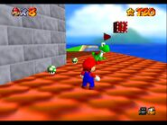 Peach's Castle exterior Yoshi on the roof 1