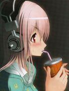 Sonico drinking soda